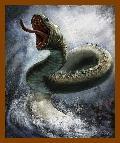 Serpente de Midgard, ou Jormungand, habitante do oceano cósmico.