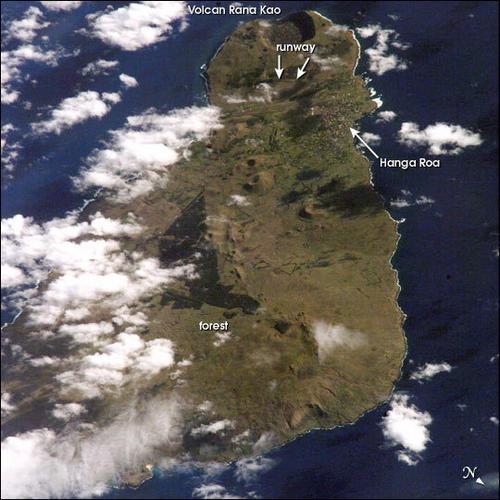 Foto de satélite da Ilha de Páscoa.
