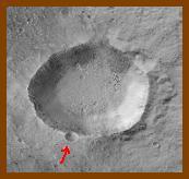 Cratera de extração do solo em Marte.
