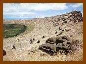 Na Ilha de Páscoa, as extrações do solo foram feitas com o intuito de utilizar as pedras para construir os monumentos.