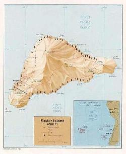 Mapa topográfico da Ilha de Páscoa.