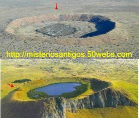 Comparação entre as crateras Wolfe Creek e Rano Raraku.